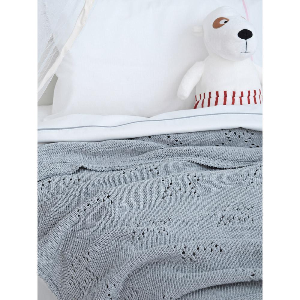 Κουβέρτα βαμβακερή κούνιας πλεκτή ASTRO PINK