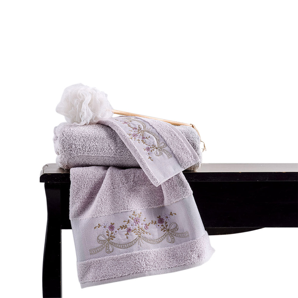 Σετ πετσέτες με κέντημα LUISA (3τμχ) LILAC